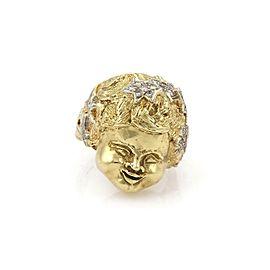 Vintage Diamond 14k Two Tone Gold 3d Cherub Head Ring Size 9