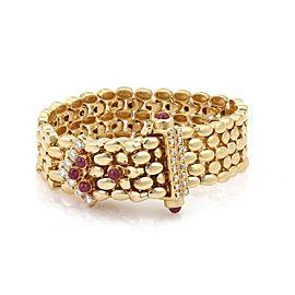 Vintage 1.90ct Diamond & Ruby 14k Yellow Gold Panther Link Belt Bracelet