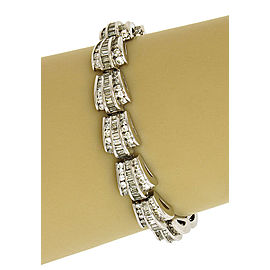 Gorgeous 10.2ct Diamonds 14k White Gold Fancy Curved Link Bracelet