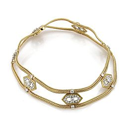 Vintage 7ctw Diamond 18k Yellow Gold Fancy Open Woven Choker Necklace