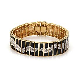Vintage 3.30ctw Diamonds & Black Onyx 18k Gold Fancy Design Wide Bracelet