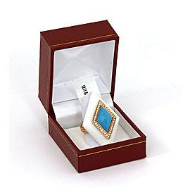 Diamond Turquoise & White Onyx 18k Yellow Gold Diamond Shape Ring Size 6.25