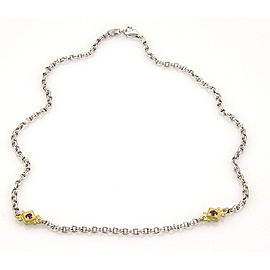 Judith Ripka Sterling Silver & 18K Yellow Gold Amethyst Chain Link Necklace
