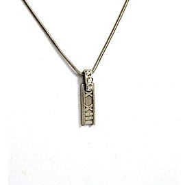 Tiffany & Co. 18k White Gold & Diamond Atlas Roman Numeral Pendant & Chain
