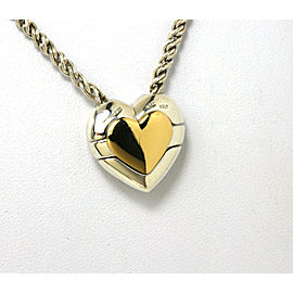 TIFFANY & CO. STERLING SILVER & 18K YELLOW GOLD HEART PENDANT W/ CHAIN