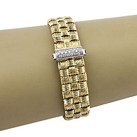 $9,200 Roberto Coin 18K Yellow Gold Appassionata Woven Bracelet with Diamonds