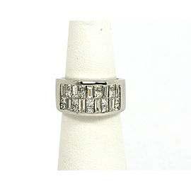2.50 Carats Diamond 18k White Gold Wide Band Ring Size 6