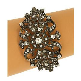 Victorian 10 Carats Diamond 18k Gold Fancy Floral Bangle Bracelet