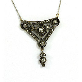 BEAUTIFUL 14K WHITE GOLD & 1 CT ROSE CUT DIAMONDS LADIES ORNATE PENDANT NECKLACE