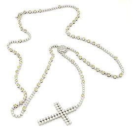 Magnificent 10k W/Gold 13.5ct Yellow & White Diamond Cross Pendant Long Necklace