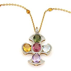 Estate Vintage 18k Y/Gold Multi Gemstones Diamond Celtic Cross Pendant & Chain
