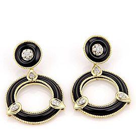 Stunning 18k Yellow Gold .60tcw Diamond & Onyx Open Circle Drop/Dangle Earrings