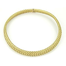 High Fashion 14k Yellow Gold & Sapphire Basket Weave Choker Necklace Italy