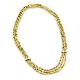 Tiffany & Co. Germany 18k Yellow & Diamond Gold Triple Strand Rope Necklace