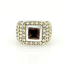 John Hardy 18k Yellow Gold Sterling Silver & Onyx Square Shape Dot Ring