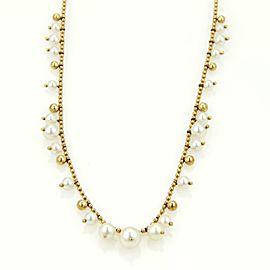 Mikimoto Elegant 18k Yellow Gold Graduated Pearls Bead Link Necklace