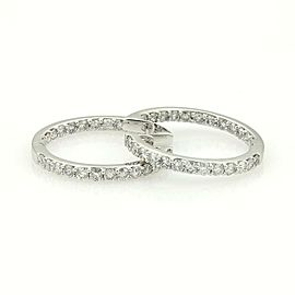 Lovely 14k White Gold 2.21ct Diamonds Inside Out Design Hoop Earrings