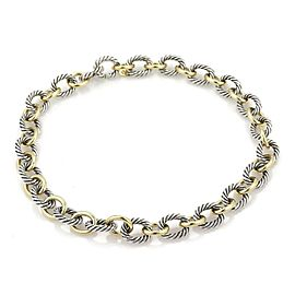 David Yurman 18k Gold & 925 Silver Oval Cable Link Necklace or Bracelet