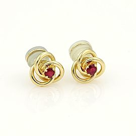 Tiffany & Co. Rubies 18k Yellow Gold Love Knot Clip On Earrings