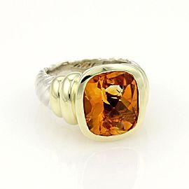 David Yurman Noblesse 925 Silver 14k Yellow Gold & Citrine Cable Ring