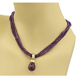 Diamonds Amethyst Pendant & Beaded 3 Strand 14k Yellow Gold Necklace