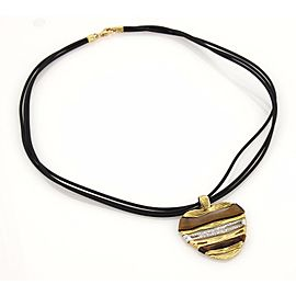 Roberto Coin Diamonds Tiger's Eye Elephant Skin 18k Gold Heart Pendant Necklace