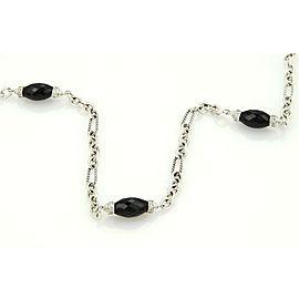 David Yurman 925 Silver Onyx & 1.60ct Diamonds Long Necklace Toggle Clasp