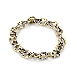 David Yurman 925 Silver & 18k YGold Cable Wire Oval Chain Link Bracelet