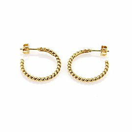 Tiffany & Co. 18K Yellow Gold Twisted Wire Semi Hoop Earrings