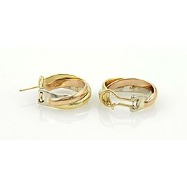 Cartier Trinity 18k Tri-Color Gold Midium Size Hoop Earrings