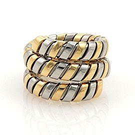 Bulgari Bulgari Tubogas 18k Yellow Gold & SSteel Wide Wrap Band Ring Size 6.5