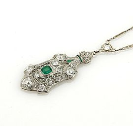 Atr Deco Estate 3.65ct Diamond & Emerald Platinum Filigree Fancy Chain Necklace