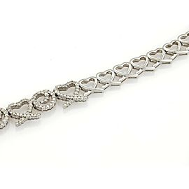 Magnificent 5.83ct Diamonds 14k White Gold Hearts & Swirl Link Necklace