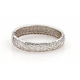 Elegant 18k White Gold 10ct Diamonds 15mm Wide Dome Bangle Bracelet