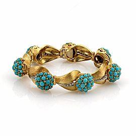 Spritzer & Fuhrmann 18k Gold Diamonds & Turquoise Floral Leaf Link Bracelet
