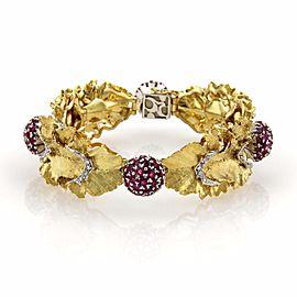 Spritzer & Fuhrmann 8.06ct Ruby & Diamonds 18k Gold Floral Leaf Bracelet