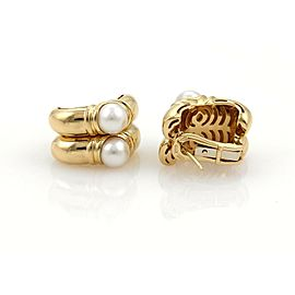 Bulgari Bvlgari Pearls 18k Yellow Gold Fancy Double Hoop Earrings