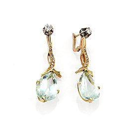 Vintage 18.40ct Aquamarine & Diamond 18k Rose Gold Drop Dangle Earrings