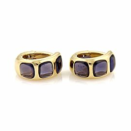 Pomellato Iolite 18k Yellow Gold Curved 10.5mm Oval Hoop Clip On Earrings