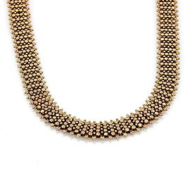 Retro 18k Yellow Gold & Garnet Etruscan Style Wide Floral Collar Necklace