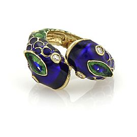 Estate Diamond 14k Yellow Gold Blue & Green Enamel Snake Bypass Ring Size 5