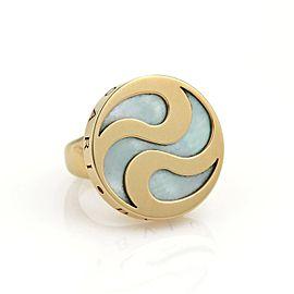Bulgari Bulgari Mother Of Pearl Spinning Optical 18k YGold & Steel Ring Size 4.75