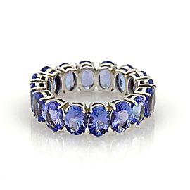 Estate Full Circle 12.62ct Oval Cut Tanzanite 14k White Gold Band Ring Size 9.5