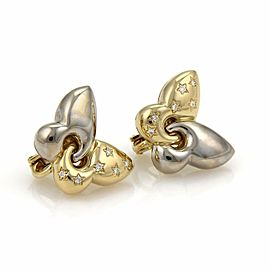 Bulgari Bulgari Diamond 18k Two Tone Gold Butterfly Post Clip Earrings