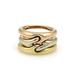 Bulgari Bulgari 18k Tricolor Gold Triple Stack Interlaced Band Ring Size 6.5