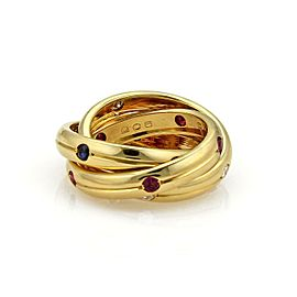 Cartier Trinity Diamond Sapphire Ruby 18k Yellow Gold Grooved Band Ring Size 5