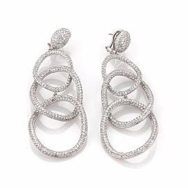 Stunning 12.5ct Diamond 18k White Gold Triple Circle Long Dangle Earrings