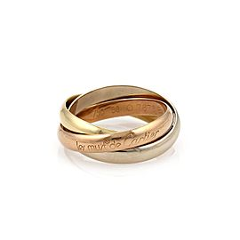 Cartier Trinity 18k Tricolor Gold 3mm Rolling Band Ring Size 7.5