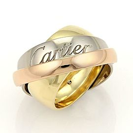 Cartier Trinity 18k Tri-Color Gold Graduated Triple Band Ring Size 6
