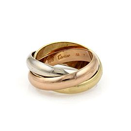 Cartier Trinity 18k Tricolor Gold 4.5mm Rolling Band Ring Size 7.5
